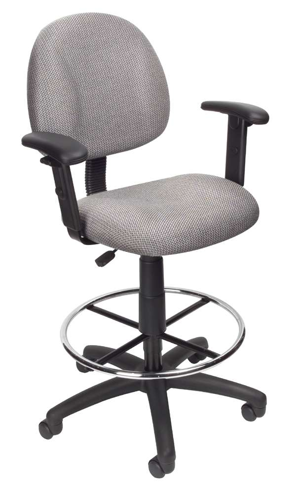 Boss Office Products Gray Drafting Stool With Adjustable