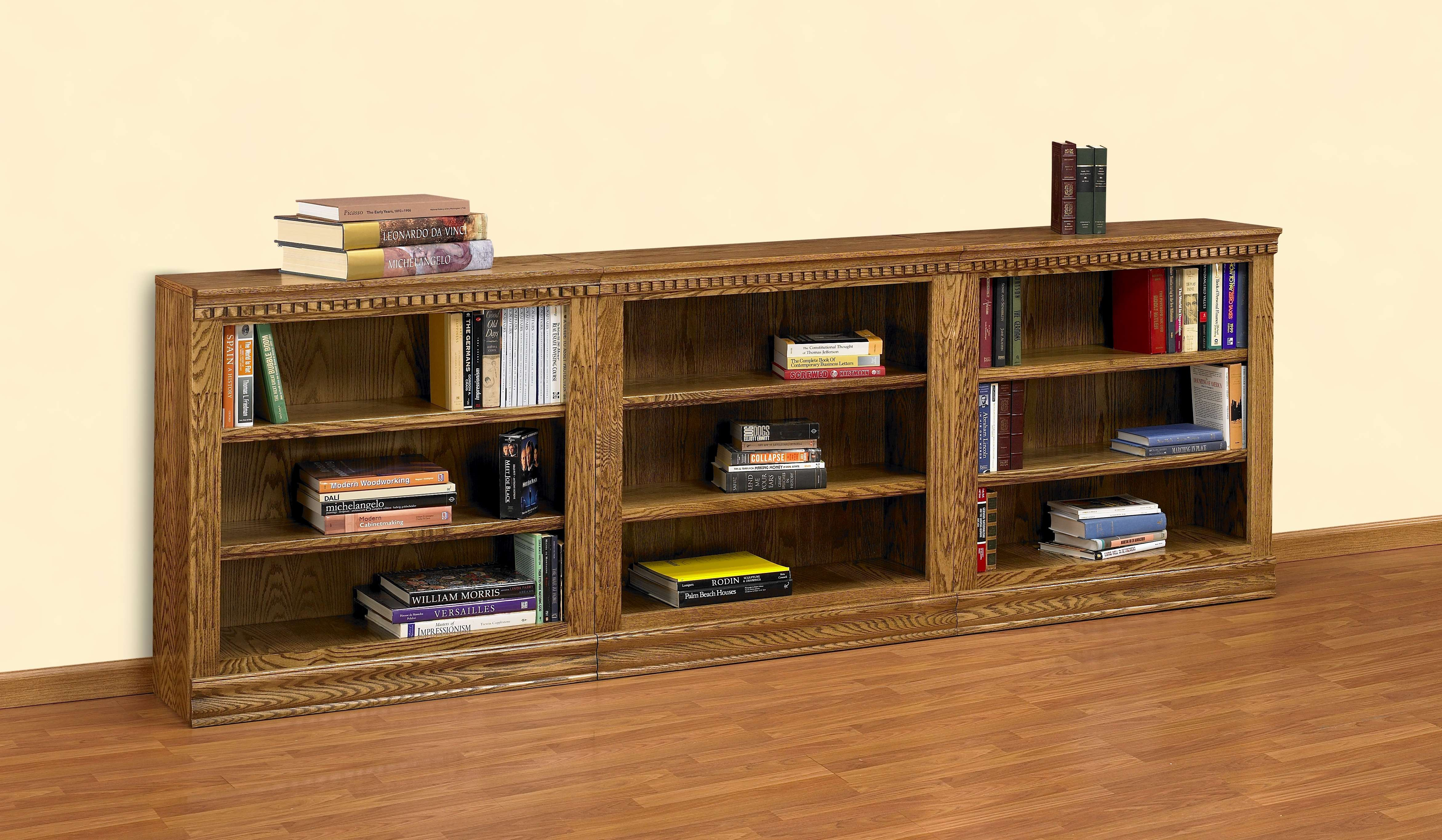 Ae Wood Design Britannia Medium Oak 36 3 Piece Short Bookcase