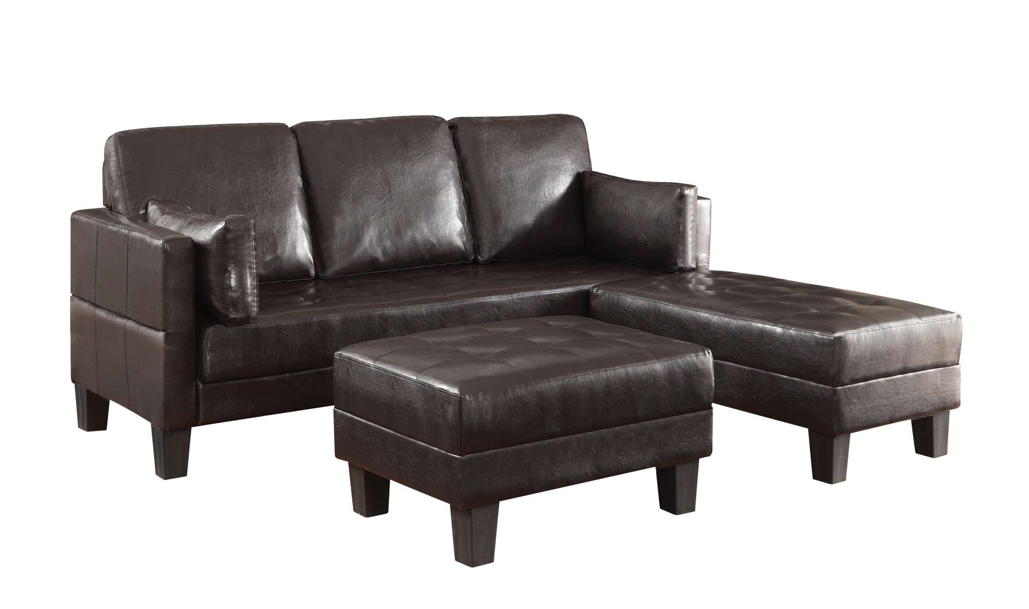 Coaster Ellesmere Brown Faux Leather Contemporary Sofa Bed with 2 ...