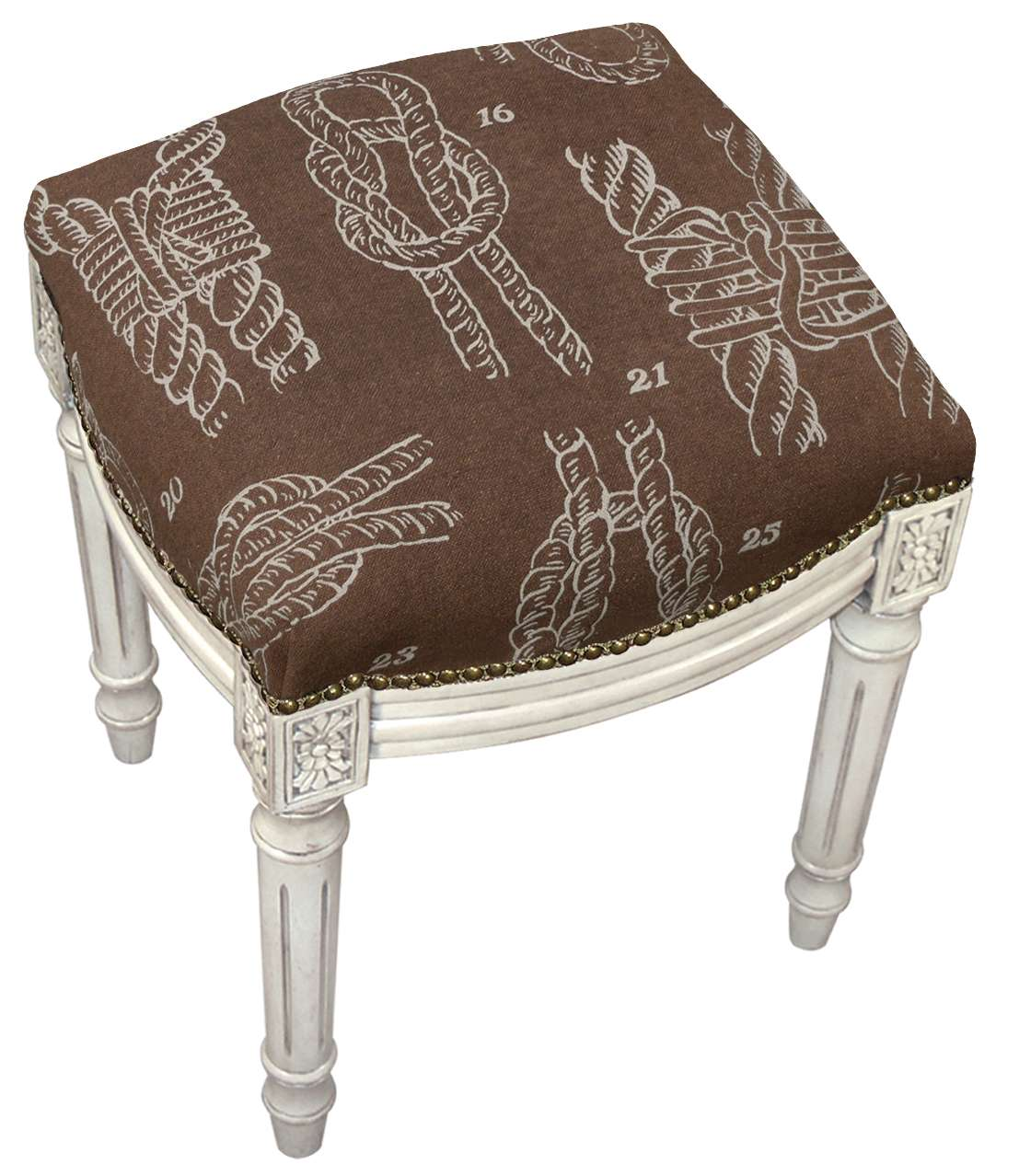 Astounding 123 Creations Brown Knots Linen Upholstered Vanity Stool With Antique Whitewash Finish Reviews Goedekers Com Theyellowbook Wood Chair Design Ideas Theyellowbookinfo