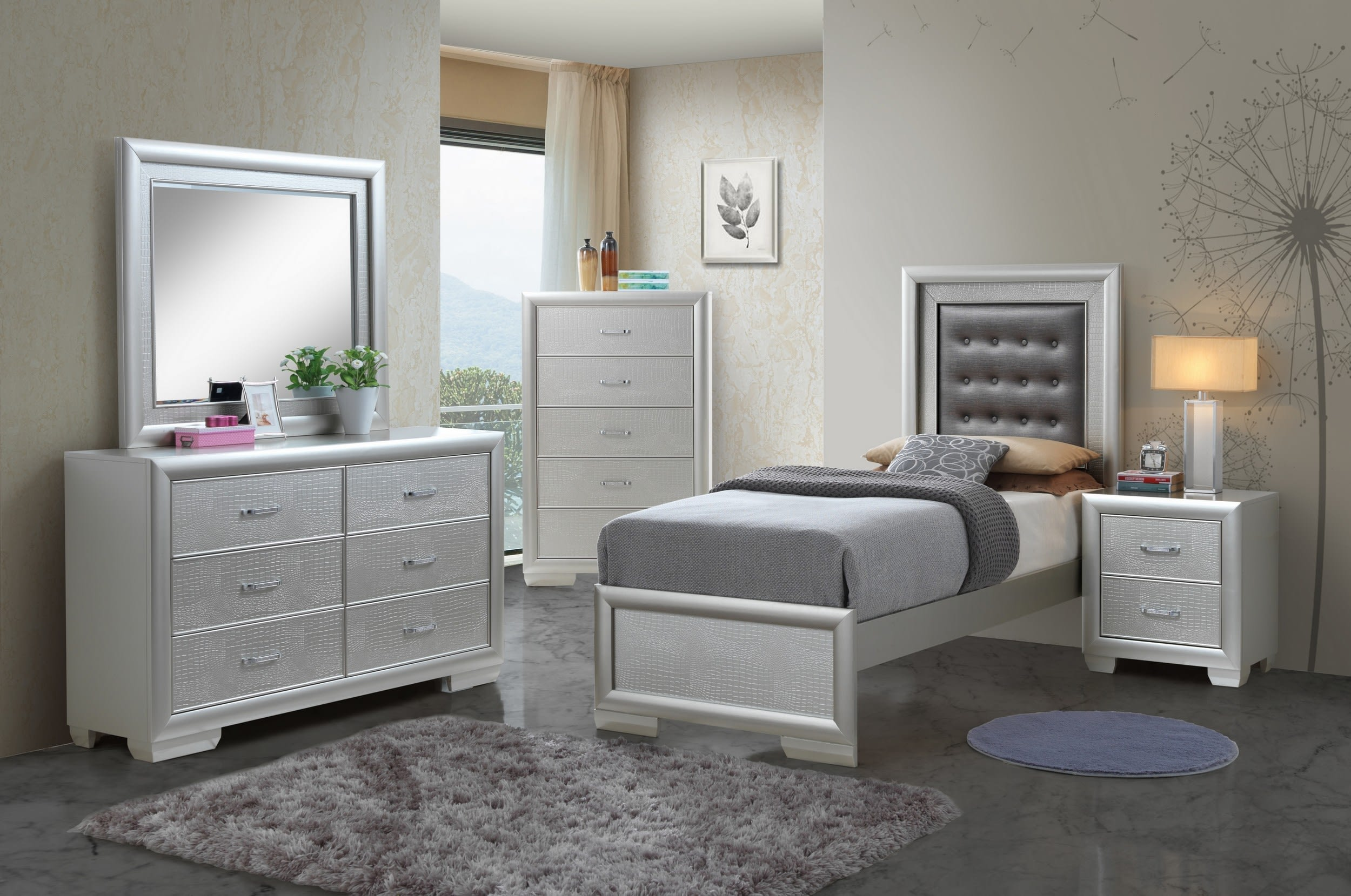 Glory Vella Silver Champagne Twin 5-Piece Bedroom Set & Reviews -  Goedekers.com