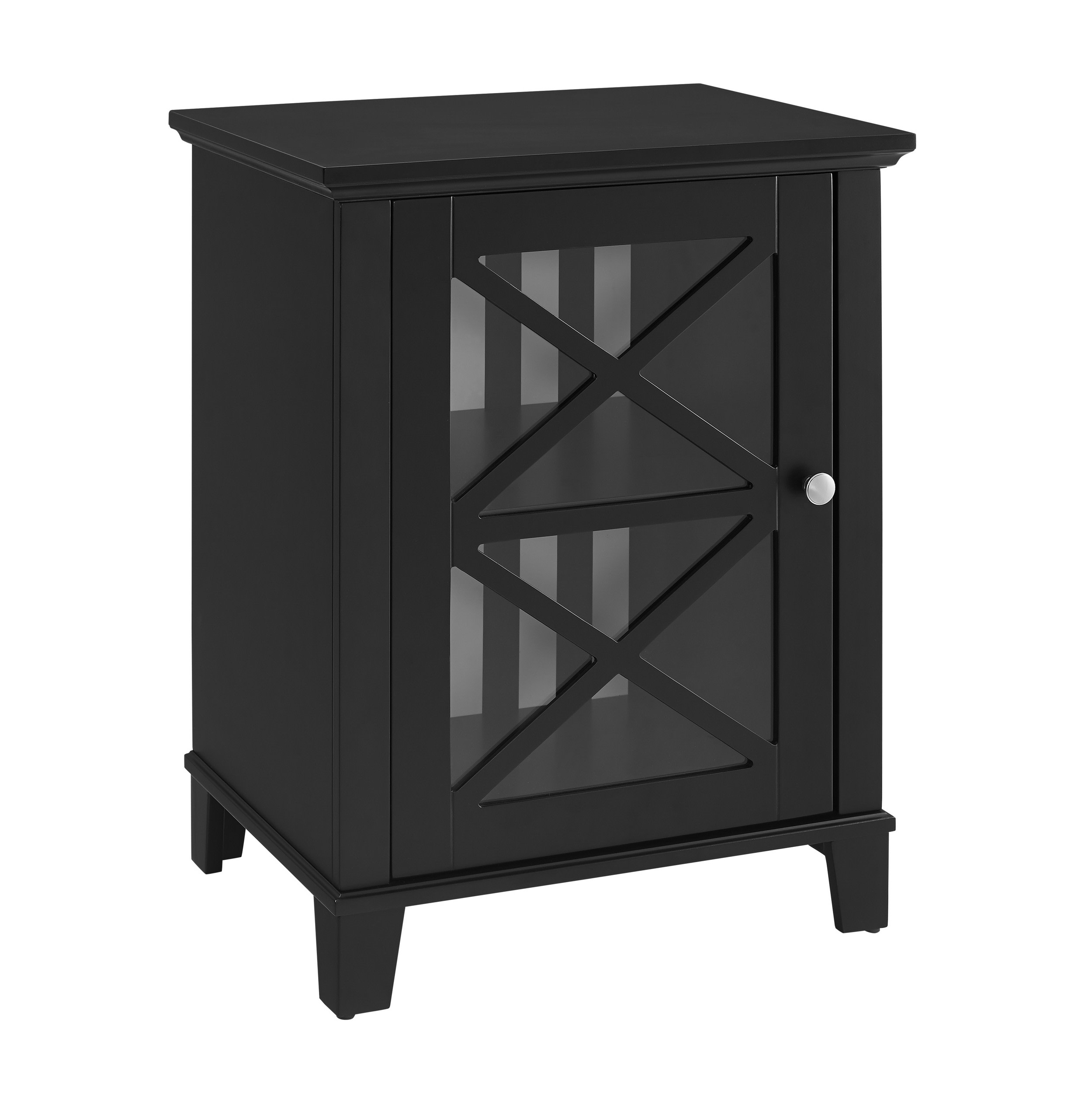 Linon Home Decor Products Inc 650215BLK01U Rapture Black Awning Stripe Small Cabinet
