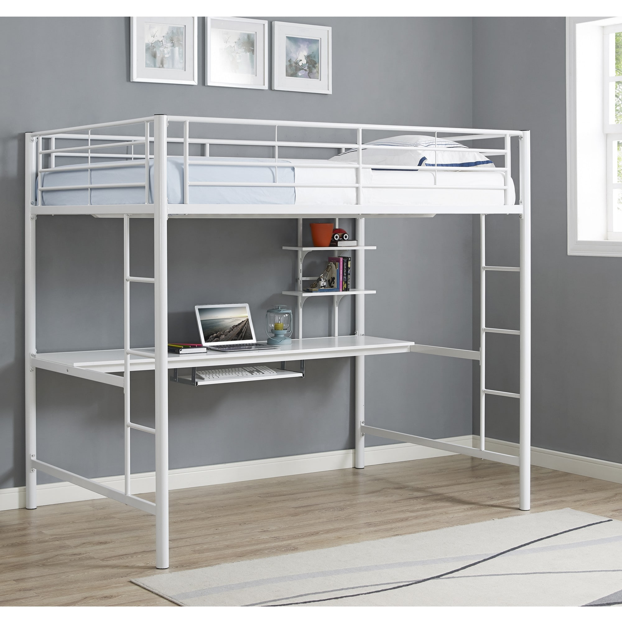 99dcb5c7a0dd Walker Edison BDOZWH. White Premium Metal Full Size Loft Bed with Wood  Workstation
