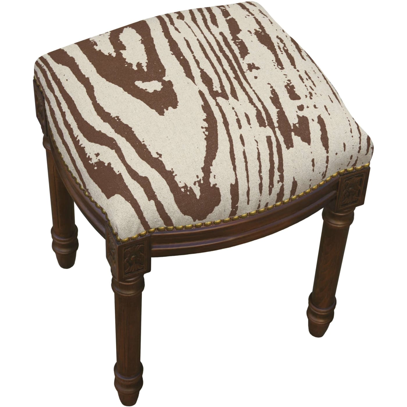 123 Creations Brown Faux Bois Linen Upholstered Vanity
