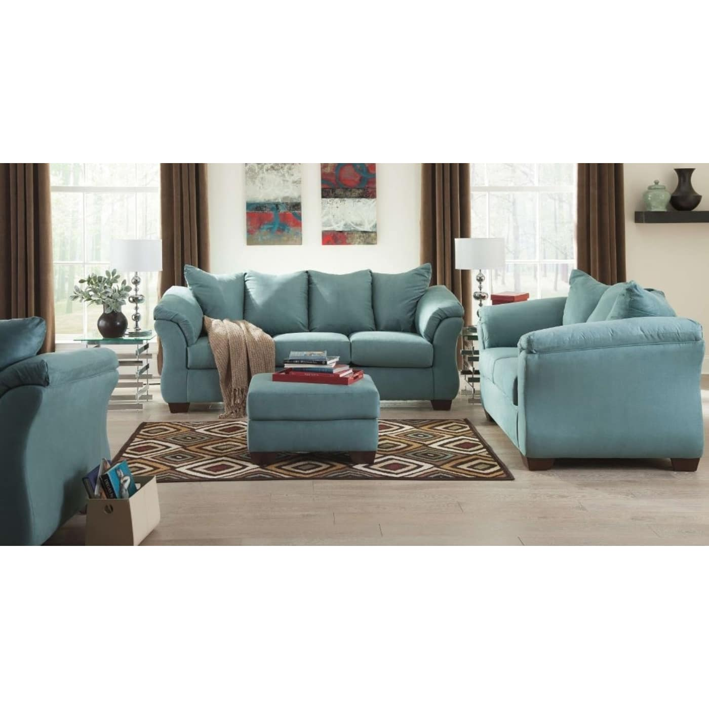Ashley Furniture 14 Piece Package: Signature Design By Ashley Darcy Sky 4 Piece Living Room