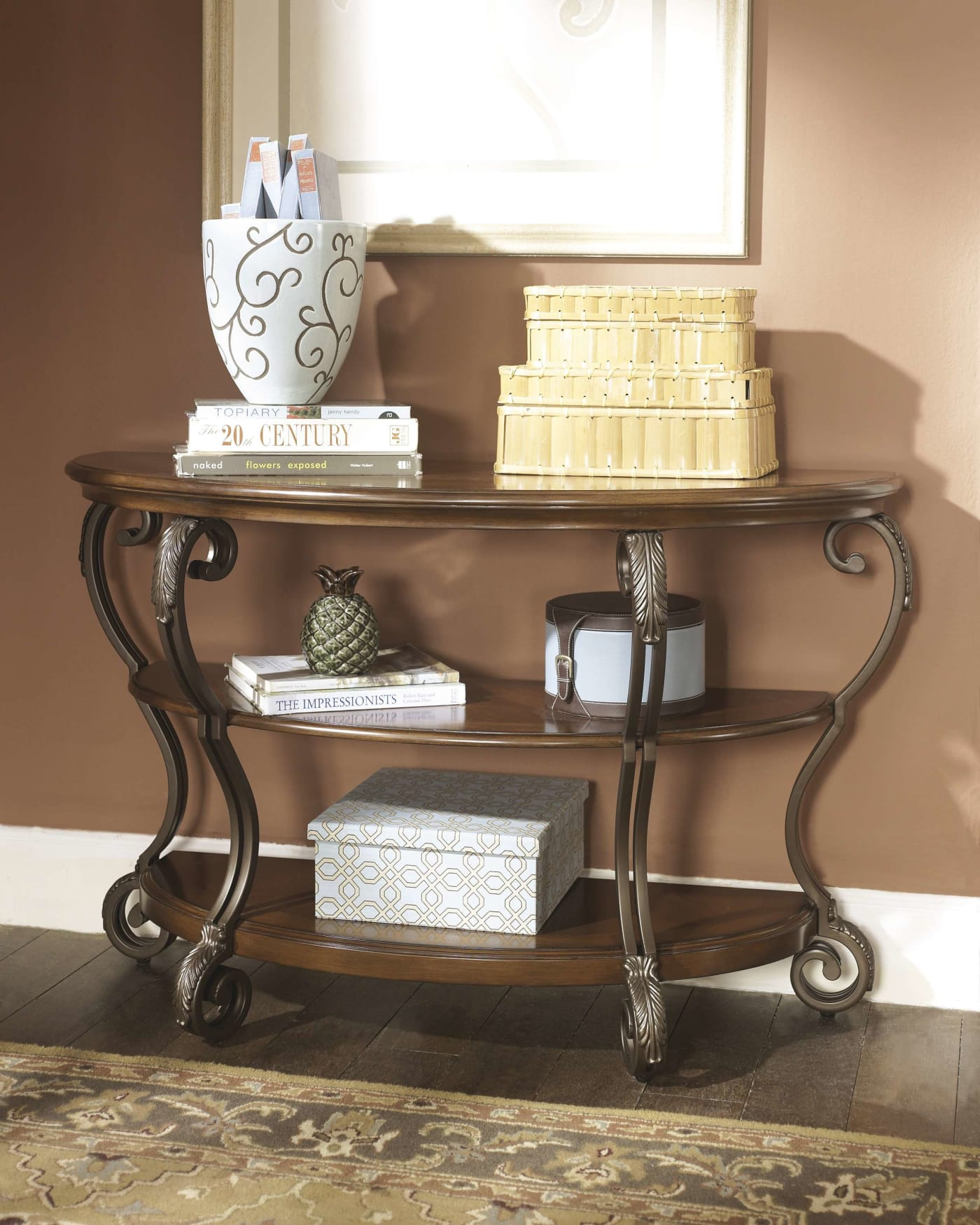 T517 0 Ashley Furniture Nestor: Signature Design By Ashley Nestor Medium Brown Sofa Table