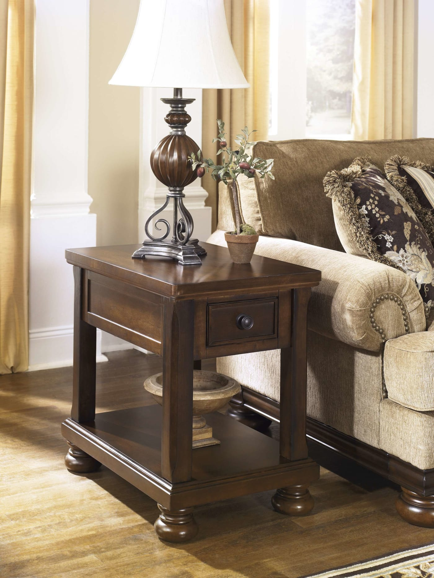 Signature Design By Ashley Porter Rustic Brown Chair Side
