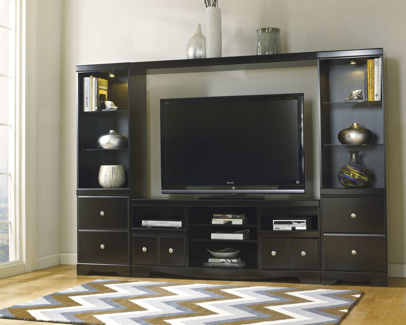 Signature Design by Ashley Shay Black Large TV Stand With ...
