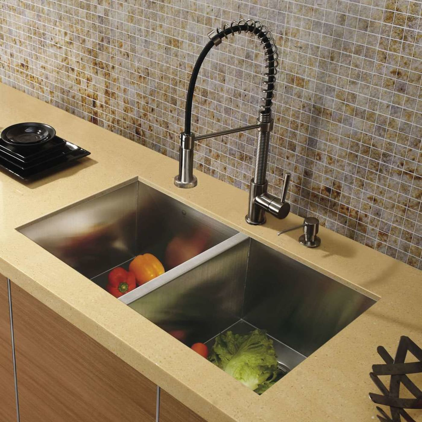 wonderful Vigo Sinks And Faucets Part - 7: Vigo VG15017. Undermount Stainless Steel Kitchen Sink, Faucet and Dispenser