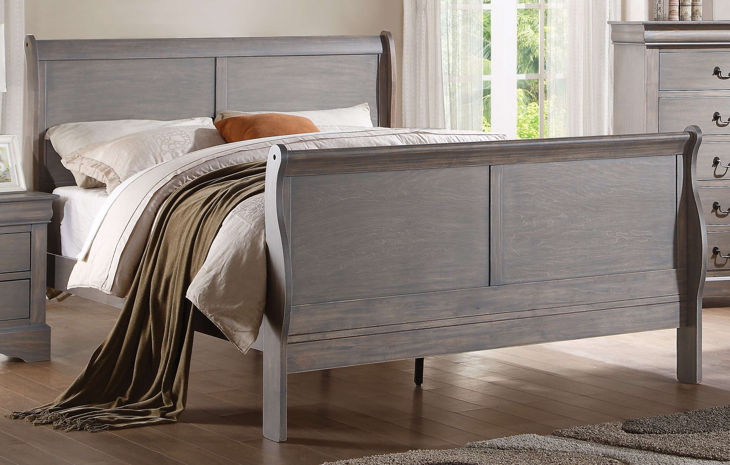 2894d5184e0d2 ACME Furniture Louis Philippe III Antique Gray Queen Sleigh Bed ...