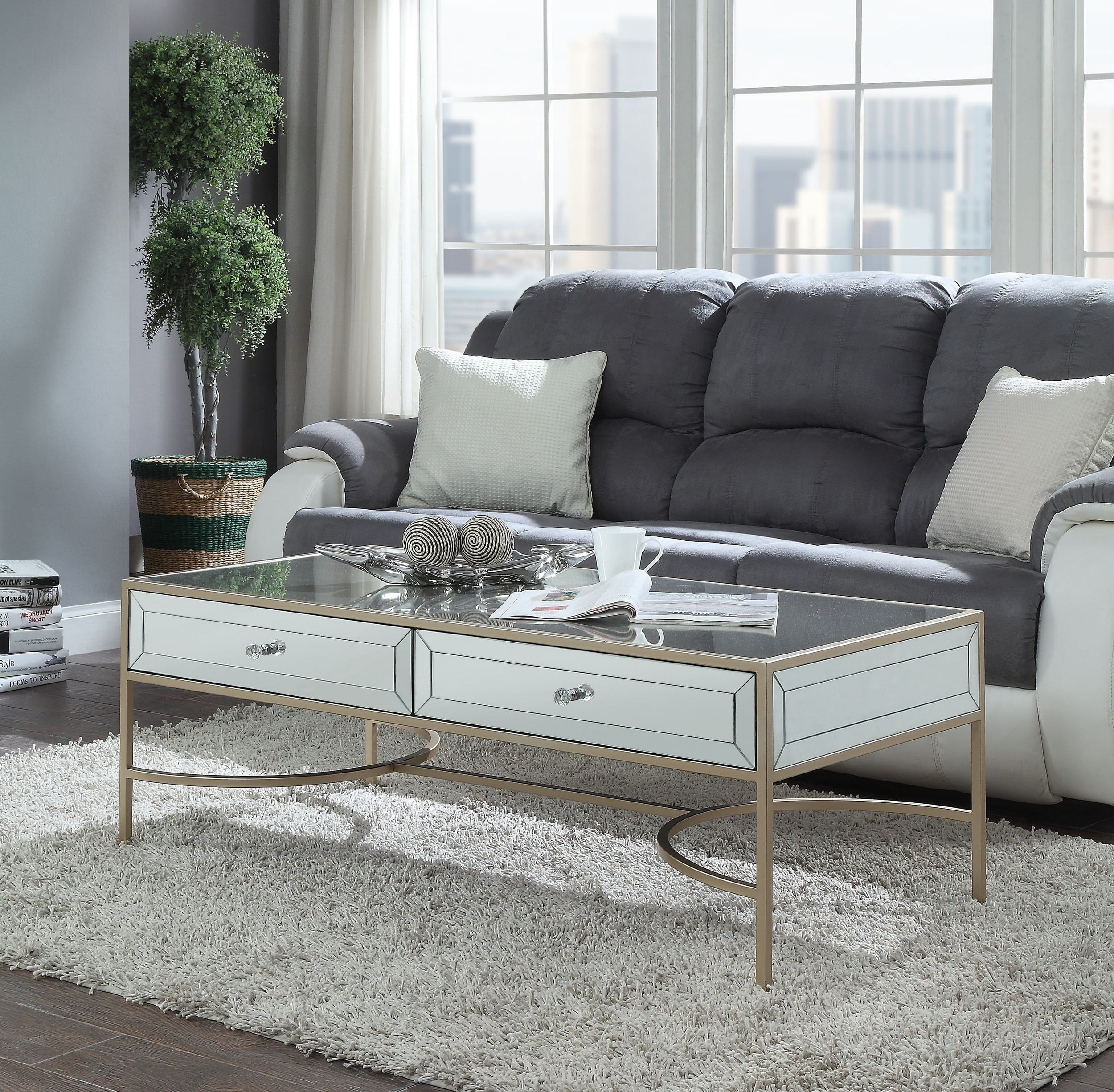 Acme Furniture Wisteria Mirrored Rose Gold Coffee Table Reviews