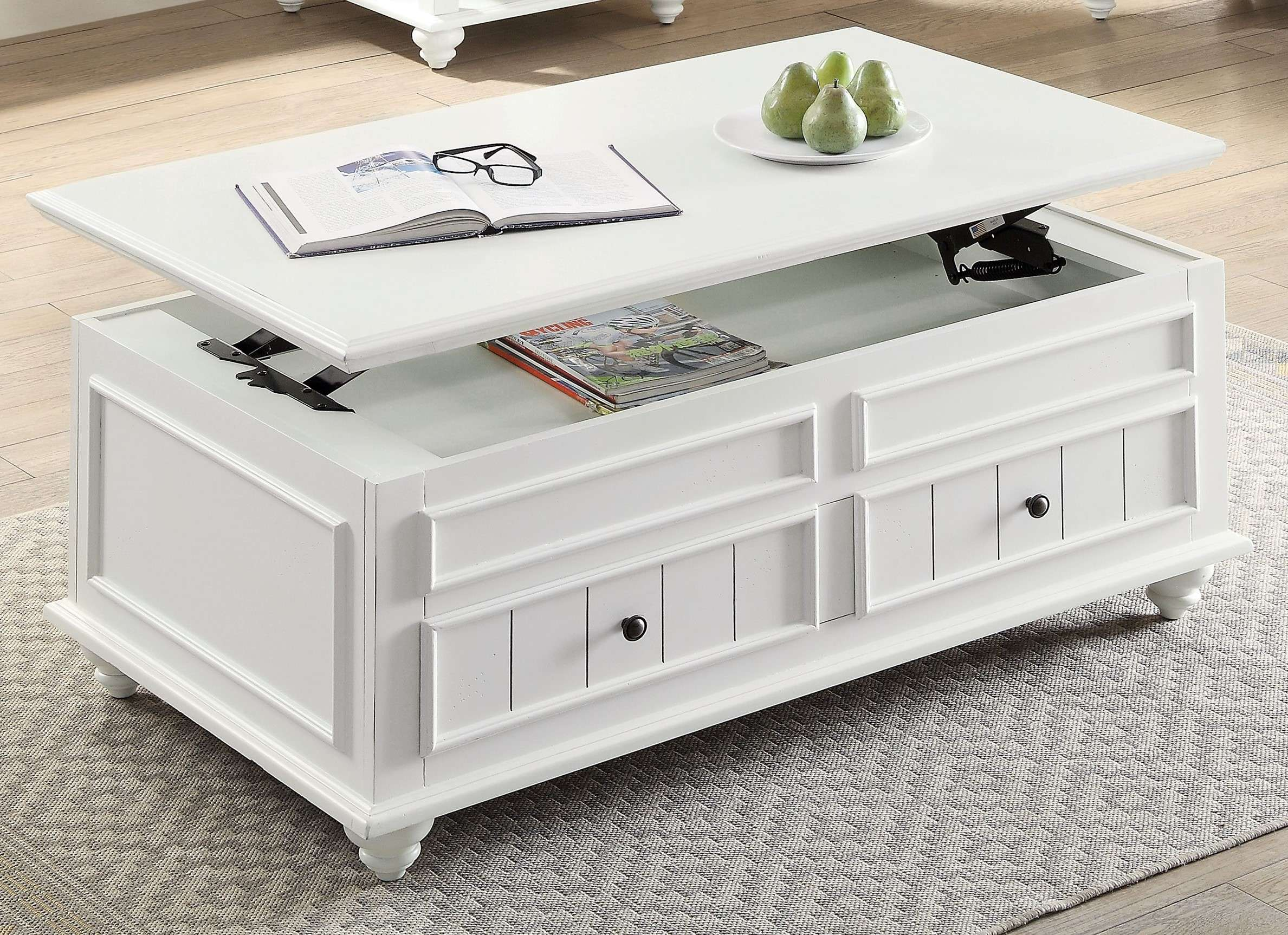 Acme Furniture Natesa White Washed Coffee Table With Lift Top