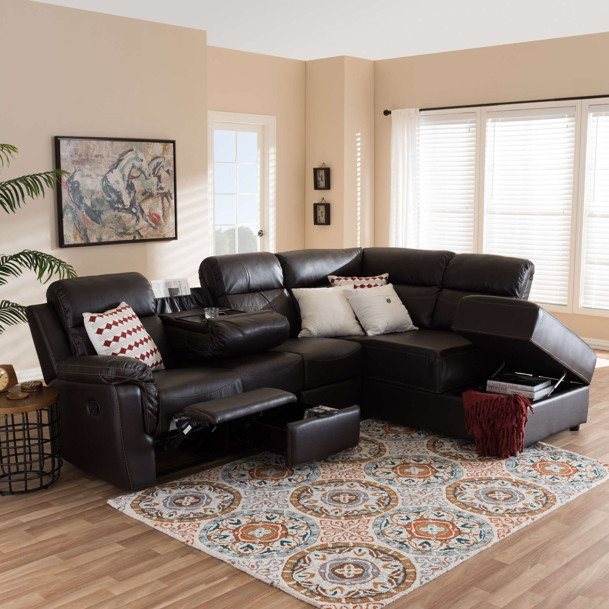 Roland Contemporary Dark Brown Faux Leather 2 Piece Sectional With Recliner  U0026 Storage Chaise