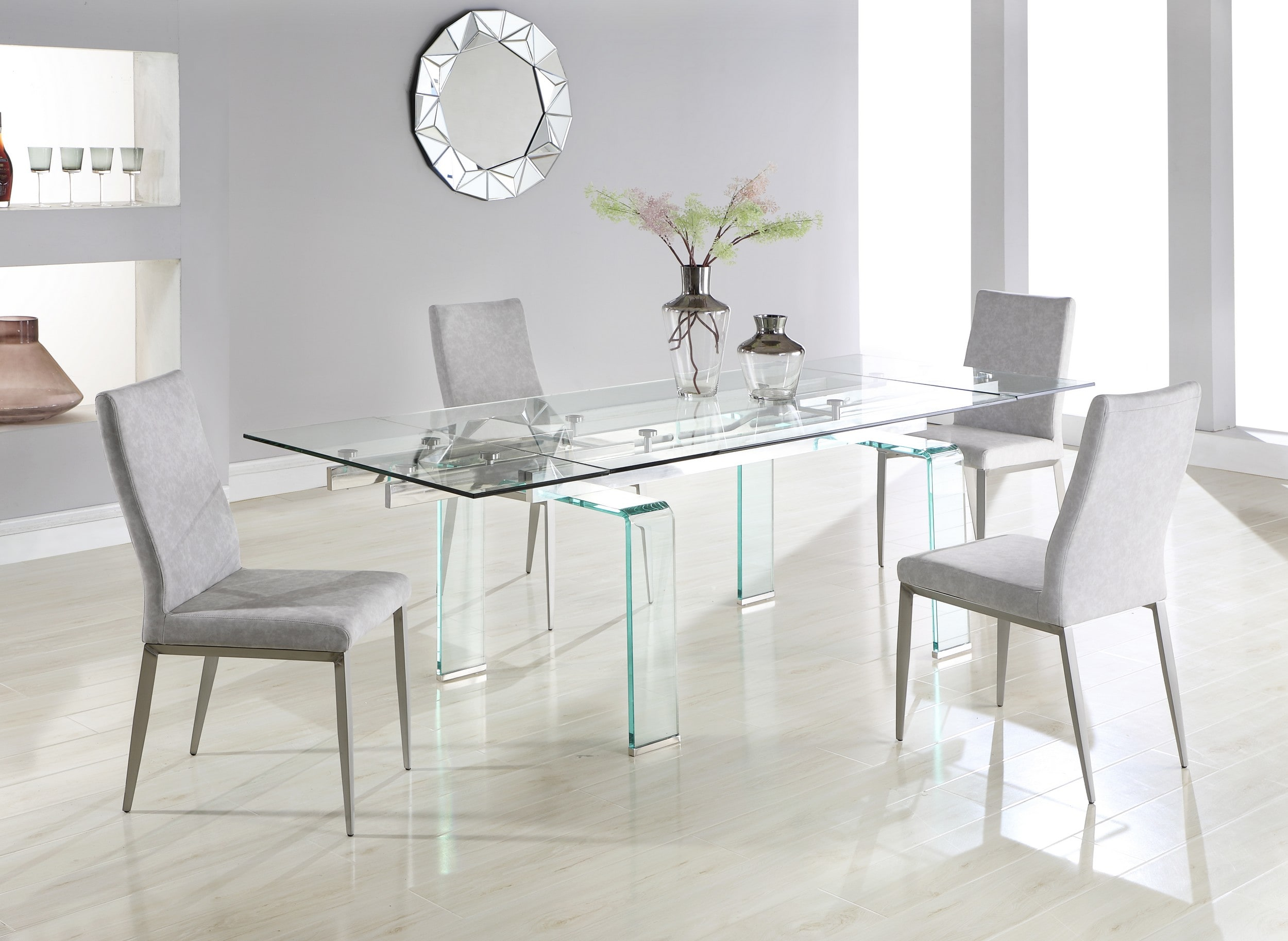 Millie Clear Glass Top Extension 5 Piece Dining Set With Desiree Grey Chairs