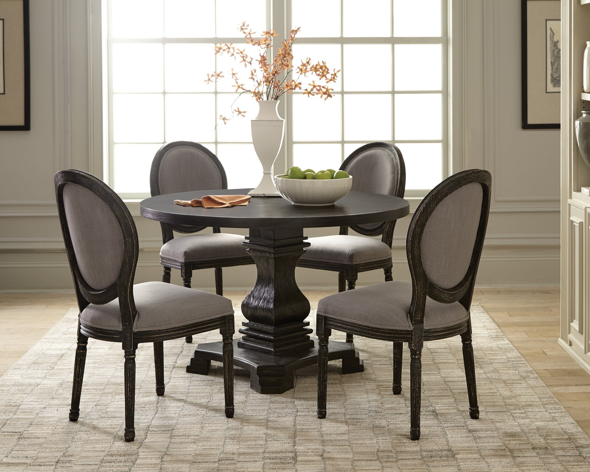 Scott Living Dayton Gray Black Round 5 Piece Dining Room Set