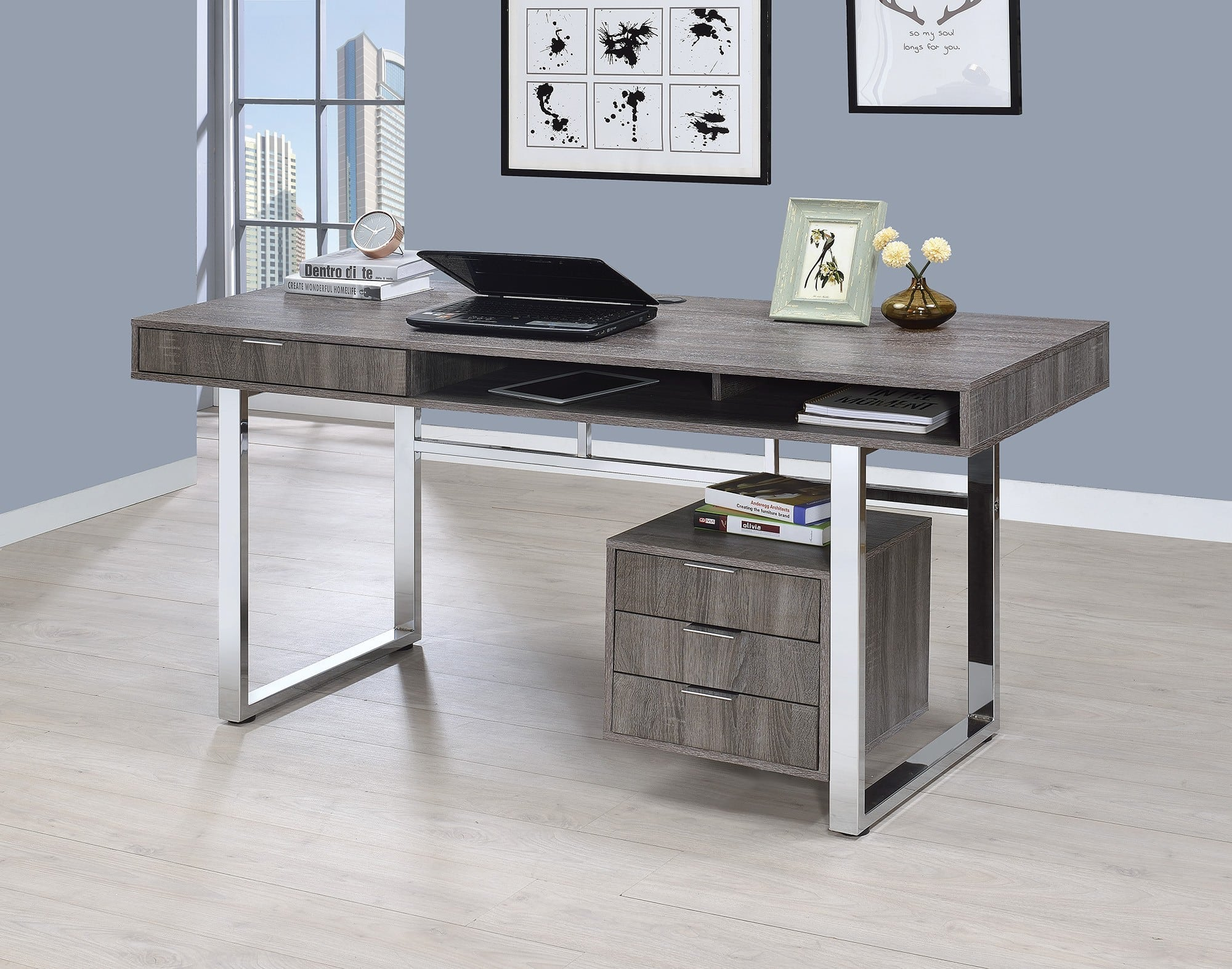 Magnificent Coaster Weathered Grey Writing Desk With 4 Drawers Reviews Goedekers Com Short Links Chair Design For Home Short Linksinfo