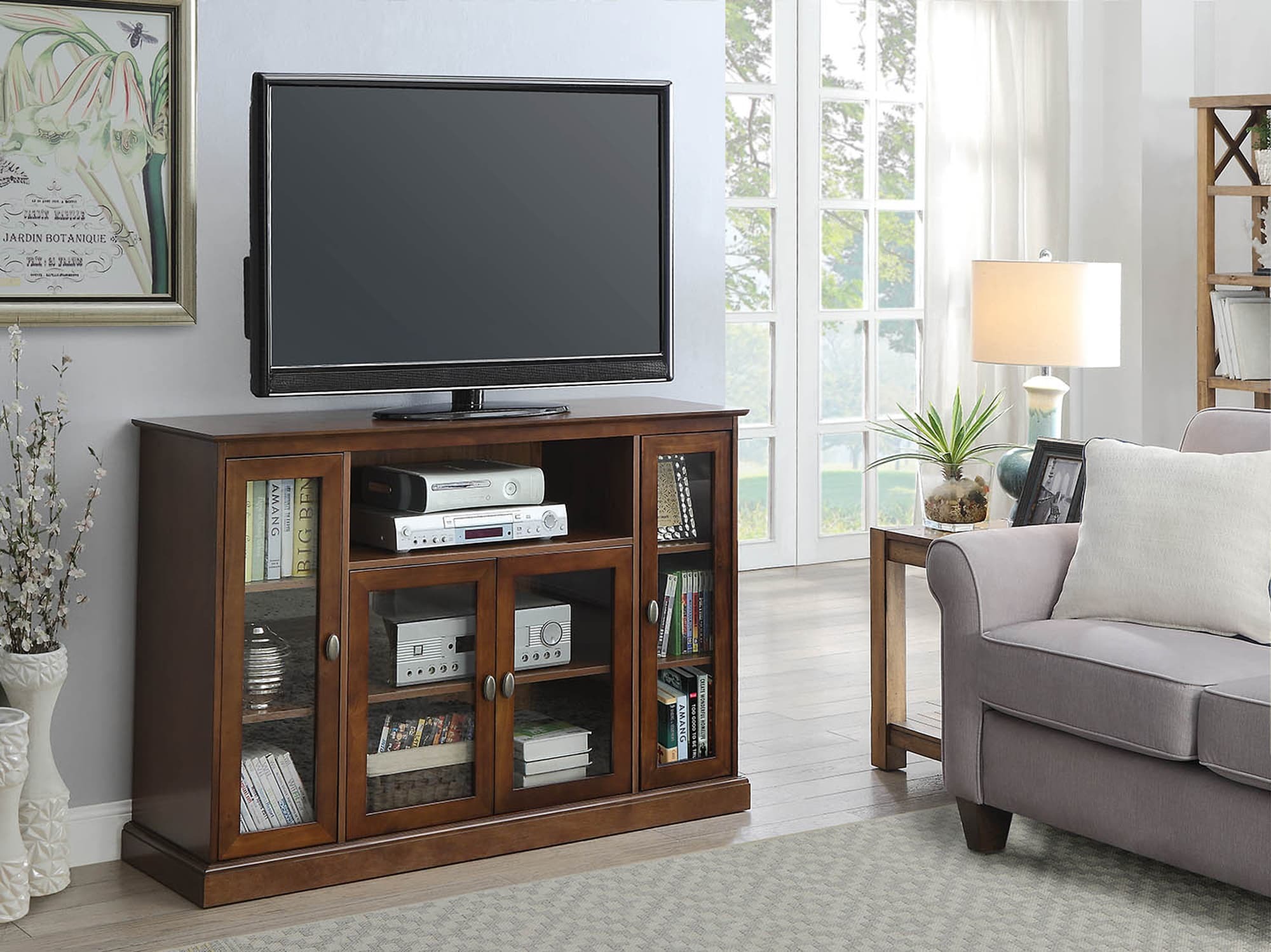 Convenience Concepts Designs2go Dark Walnut Summit Highboy Tv Stand