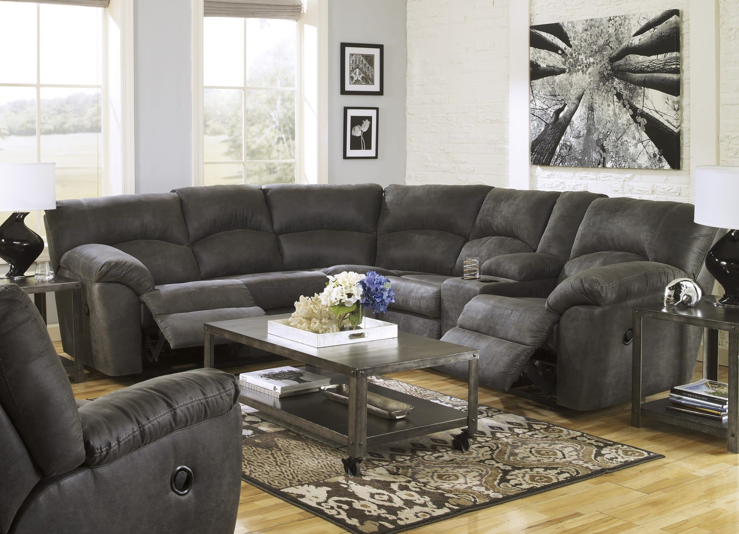 Signature Design by Ashley Tambo Pewter 3 Piece Living Room Set ...