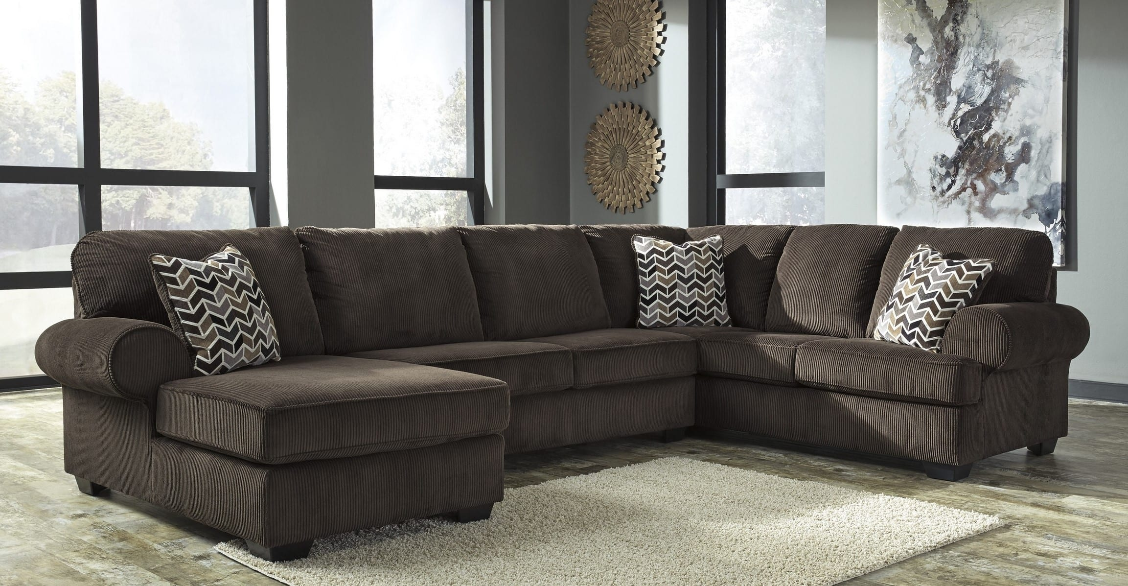 Signature Design By Ashley Jinllingsly Chocolate 3 Piece Sectional