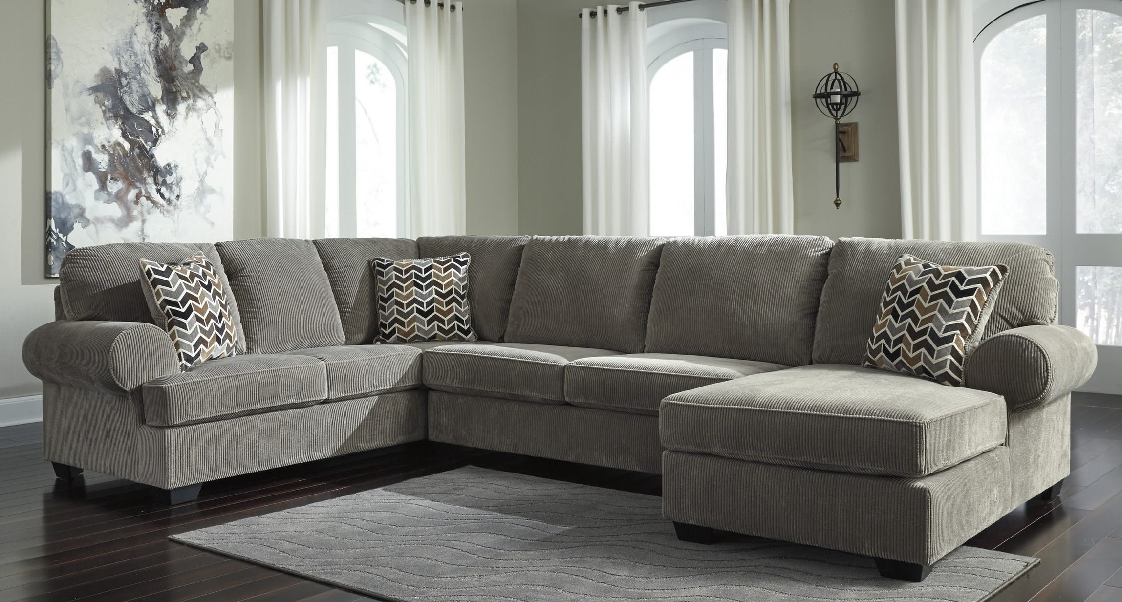 Signature Design By Ashley Jinllingsly Gray 3 Piece Sectional Sofa