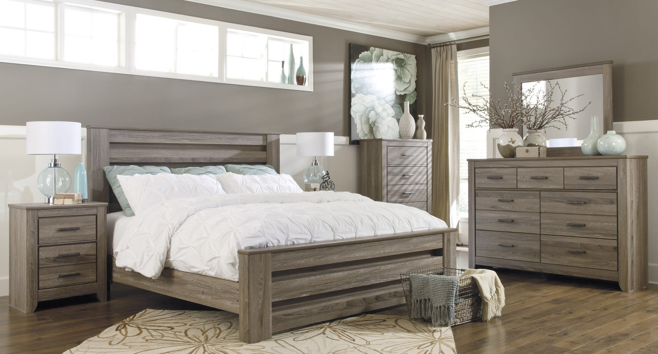 Signature Design by Ashley Zelen Warm Gray 7 Piece King Bedroom Set ...