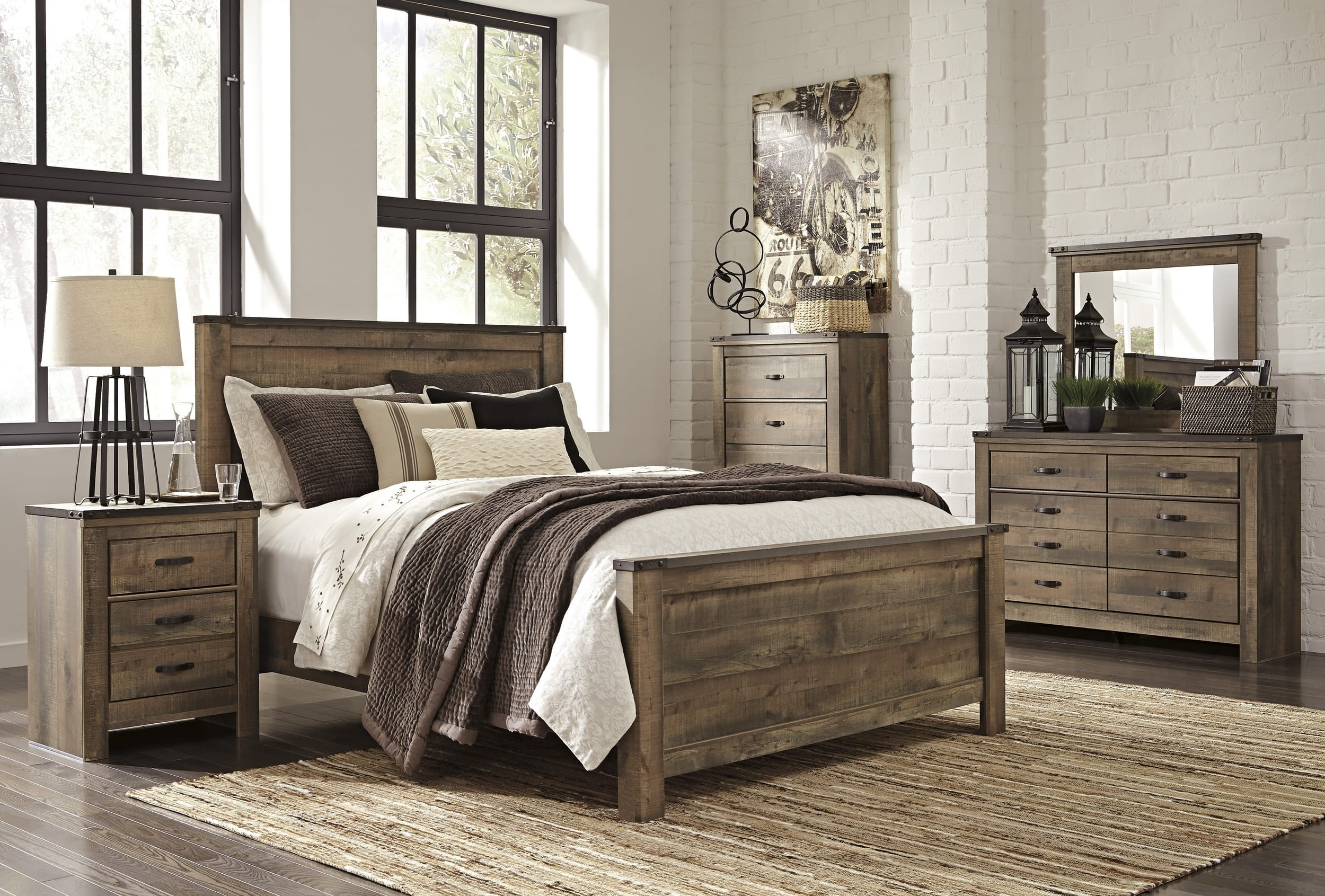 Signature Design by Ashley Trinell Brown 4 Piece Queen Bedroom Set &  Reviews - Goedekers.com