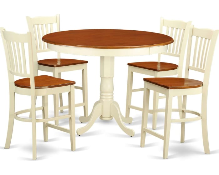 East West Furniture Trenton 5 Piece Counter Height Dining Table Set High Top Table And 4 Bar Stools Trgr5 Whi W Goedekers Com