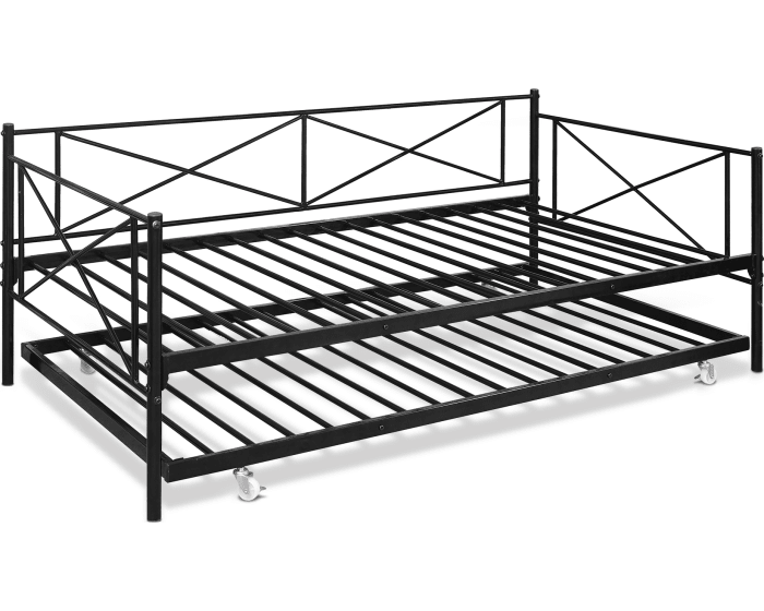 Furinno Angeland Black Carca Metal Twin Size Daybed And Trundle Fdb5007t Bk Goedekers Com