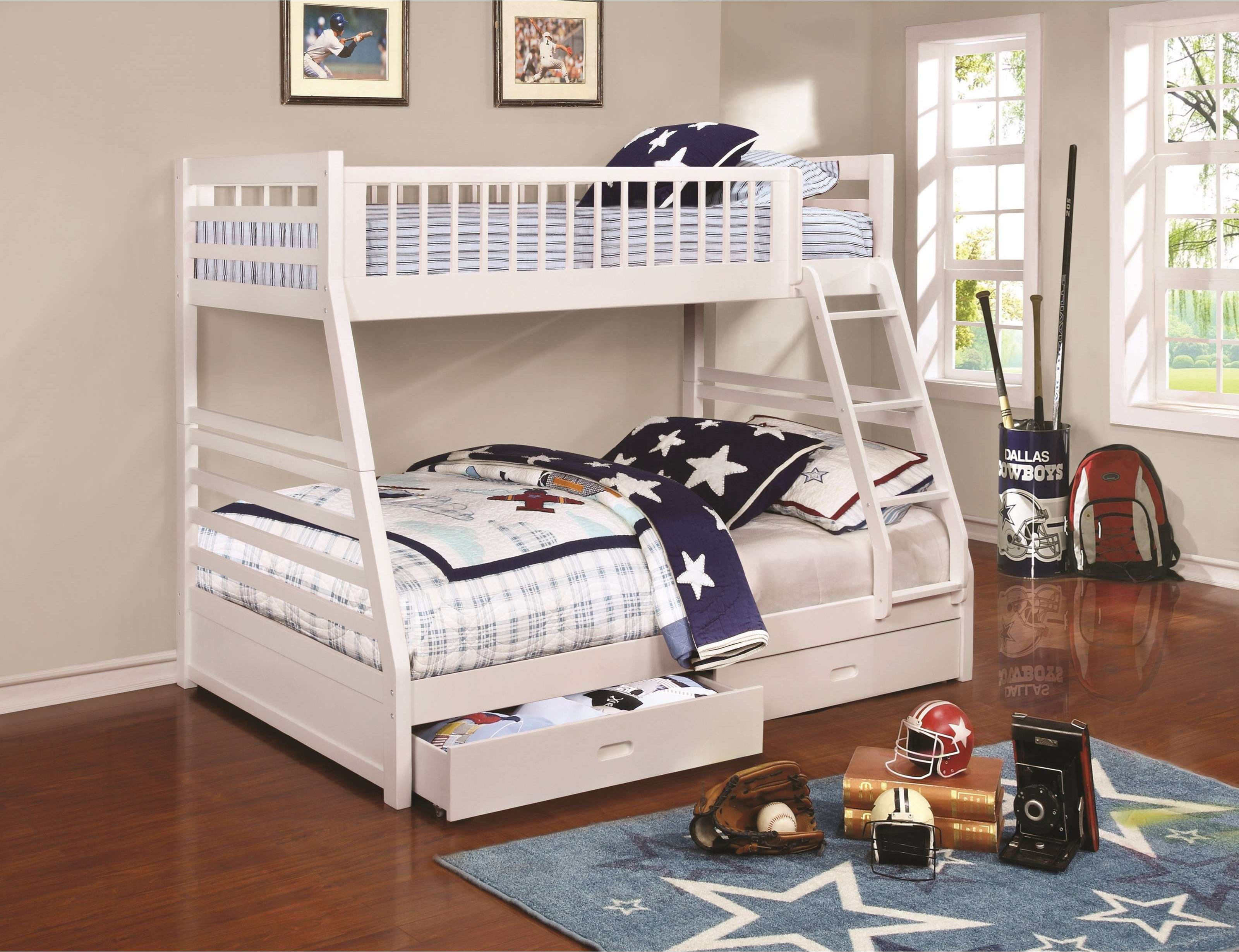 Image result for white bunk bed twin over full with ladder
