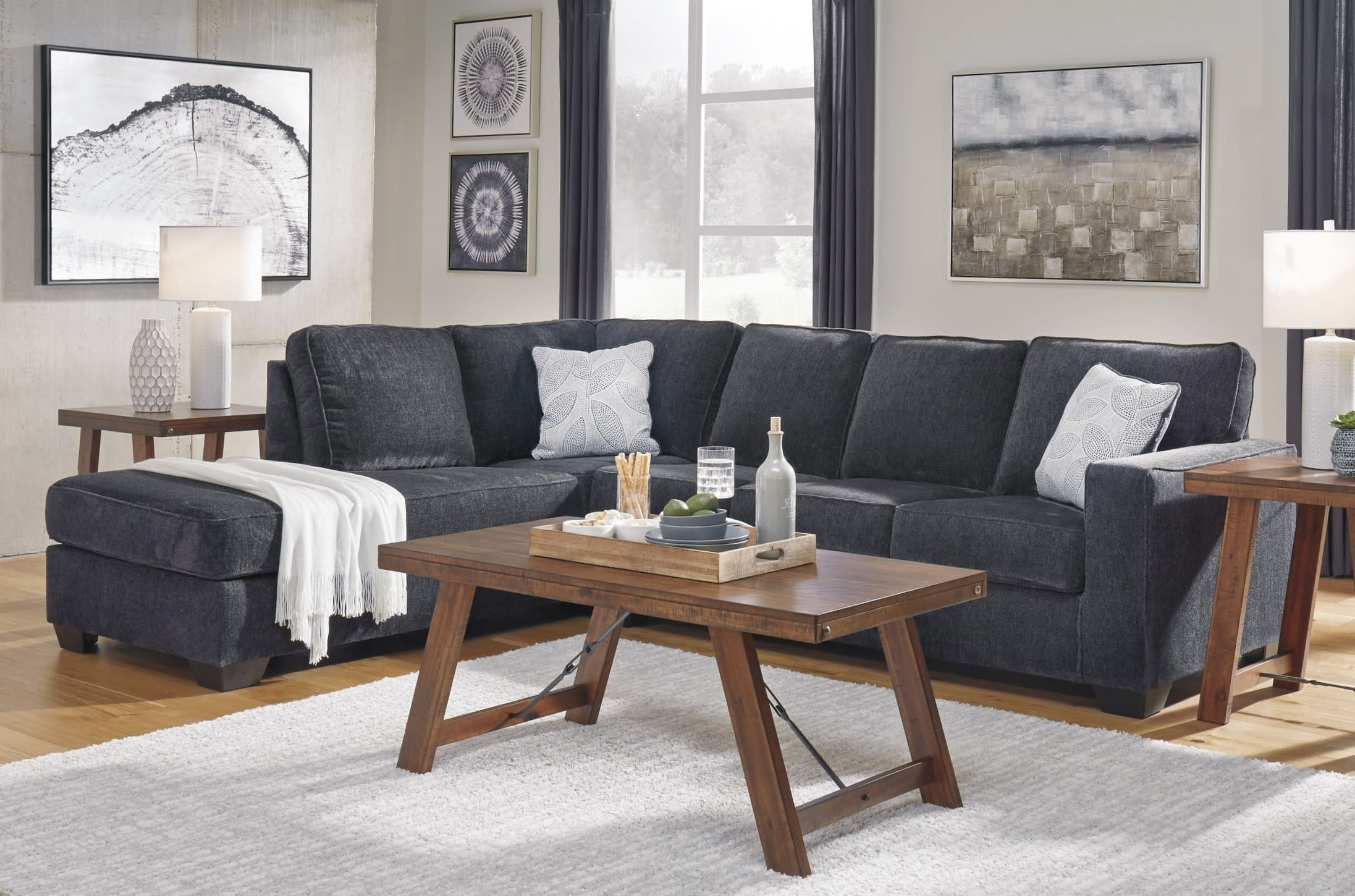 Signature Design By Ashley Altari Slate 2 Piece Left Facing Chaise Sleeper Sectional Sofa 8721316 8721383 Goedekers Com