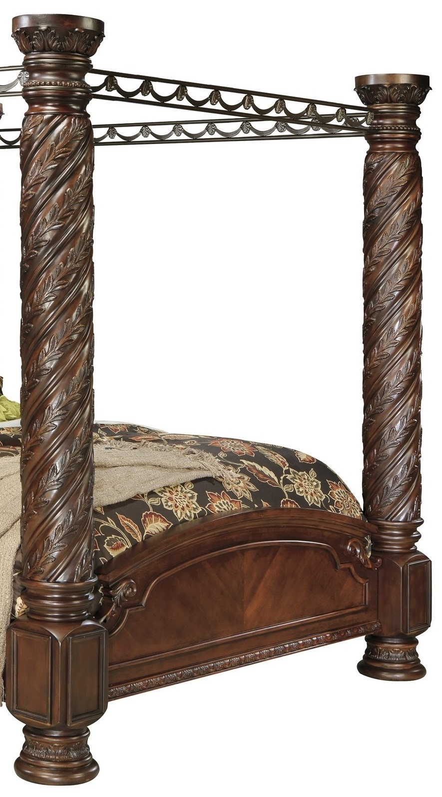 Signature Design By Ashley North Shore Dark Brown 5 Piece King Poster Canopy Bed B553 172 B553 150 B553 151 B553 162 B553 199 Goedekers Com
