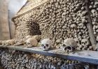 Large Pile of Human Skulls in Kutna Hora Bone Ossuary