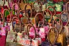 Colorful Purse Display at the Night Bazaar in Chiang Mai