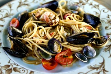 Seafood Pasta with Mussel Shells on a Plate