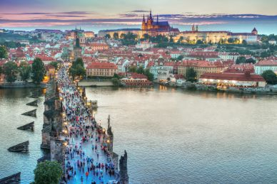 Overhead View of Tourists on Charles Bridge Leading to Mala Strana Prague