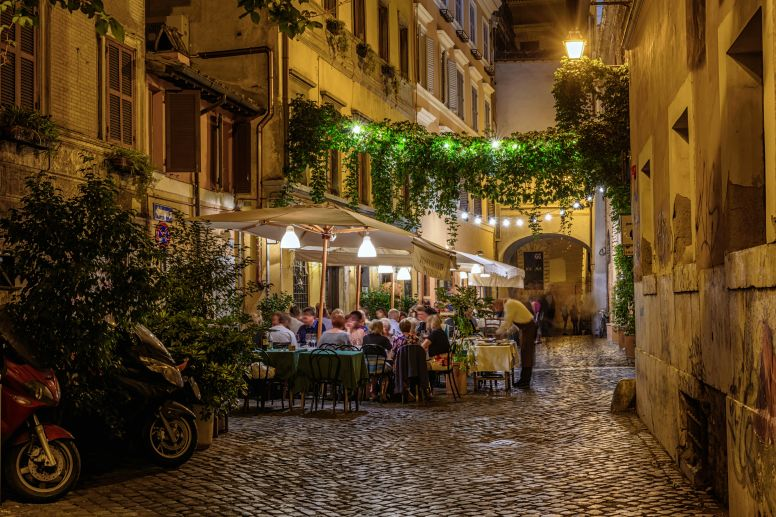 Restaurant in Cobbled Alley in Trastavere Rome