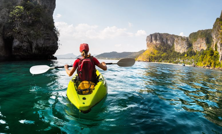 Woman Kayaking in Krabi