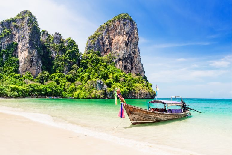 Long Tail Boat on Shore of Railay Beach in Krabi