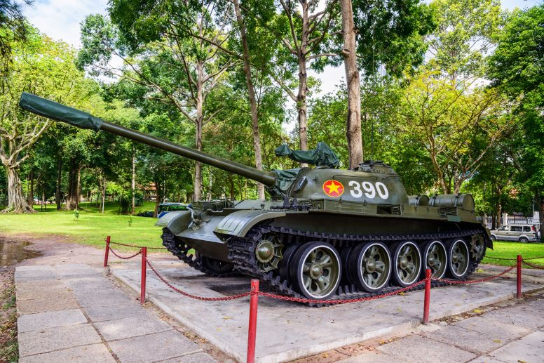 tank with number 390 logo on display in saigon