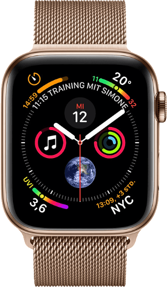 Milanese Gold Apple Watch Series 4 GPS + Cellular, 44mm Stainless steel case, Milanaise Loop.1