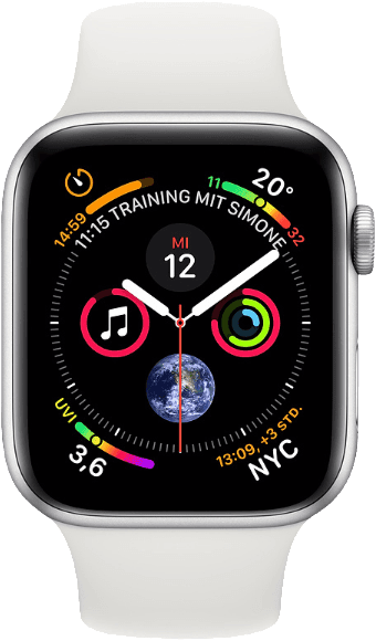 Silver / White Sport Band Apple Watch Series 4 GPS + Cellular, 44mm.1