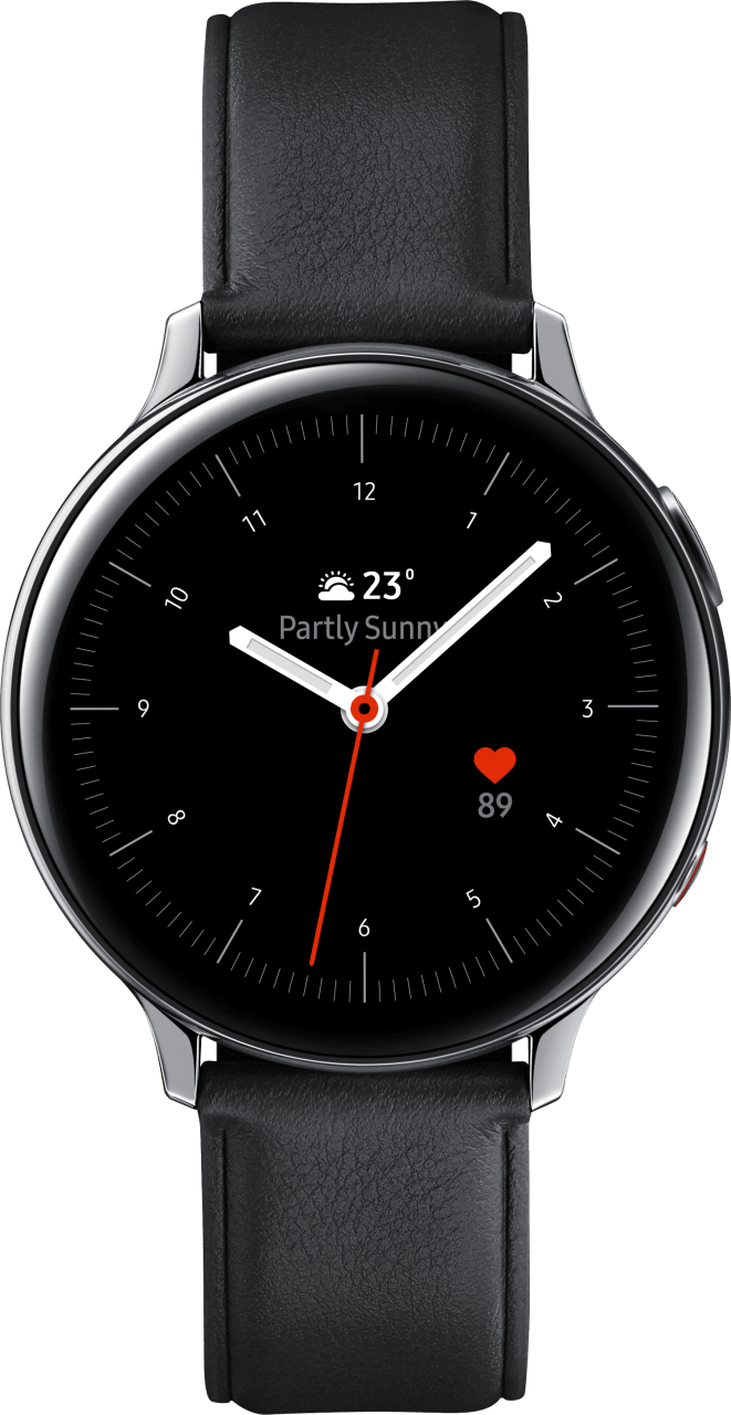 Silver Samsung Galaxy Watch Active2 (LTE), 44mm Stainless steel case, Leather band.1