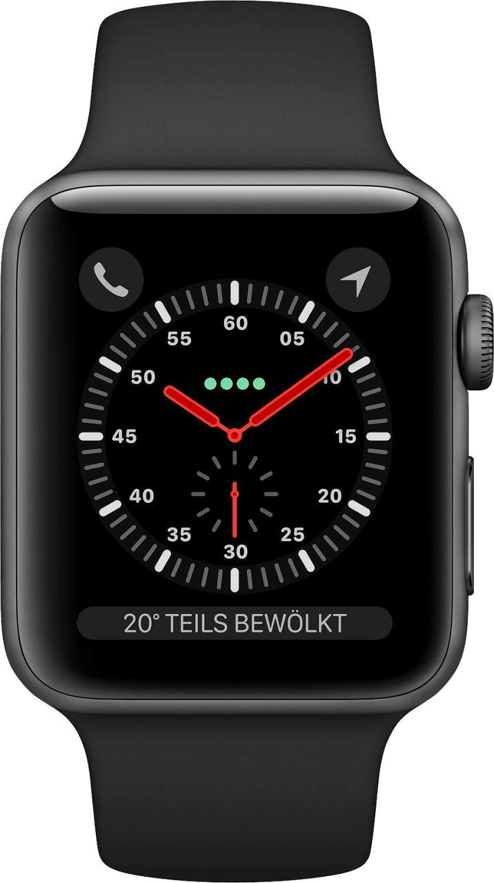 Black Apple Watch Series 3 GPS + Cellular, 38mm Aluminium case, Sport band.1