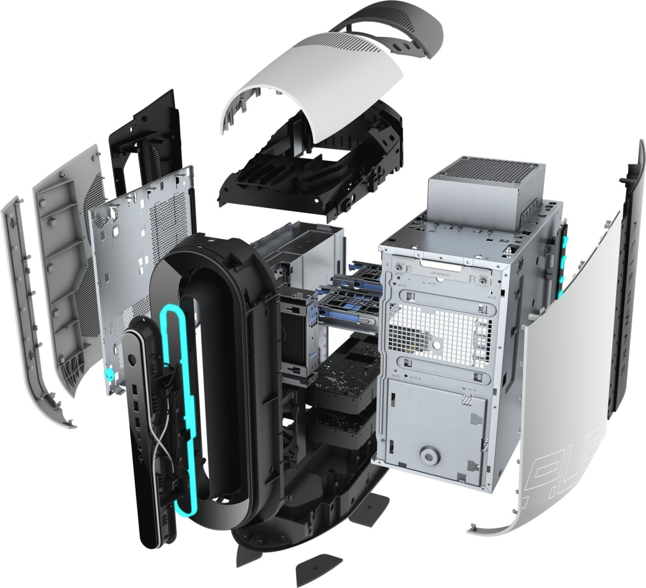 White / Silver Alienware Aurora R9.3