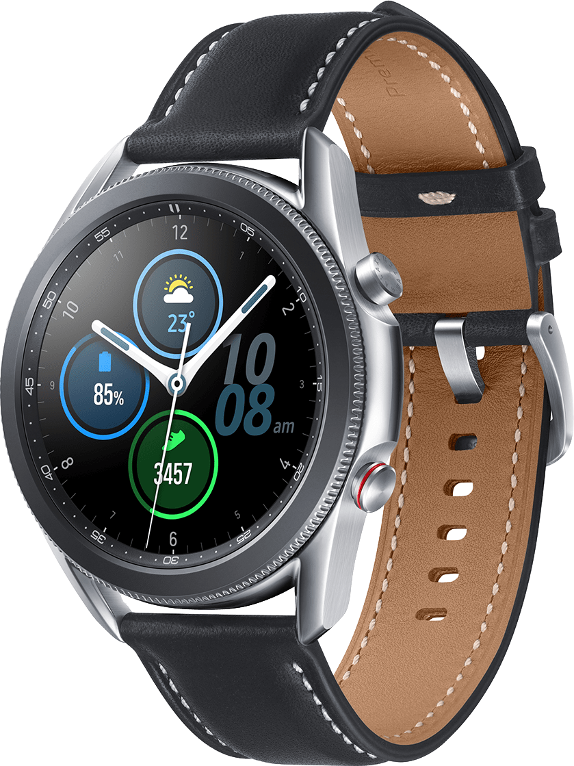 Mystic Silver Samsung Galaxy Watch 3 (LTE), 45mm Stainless steel case, Real leather band.1