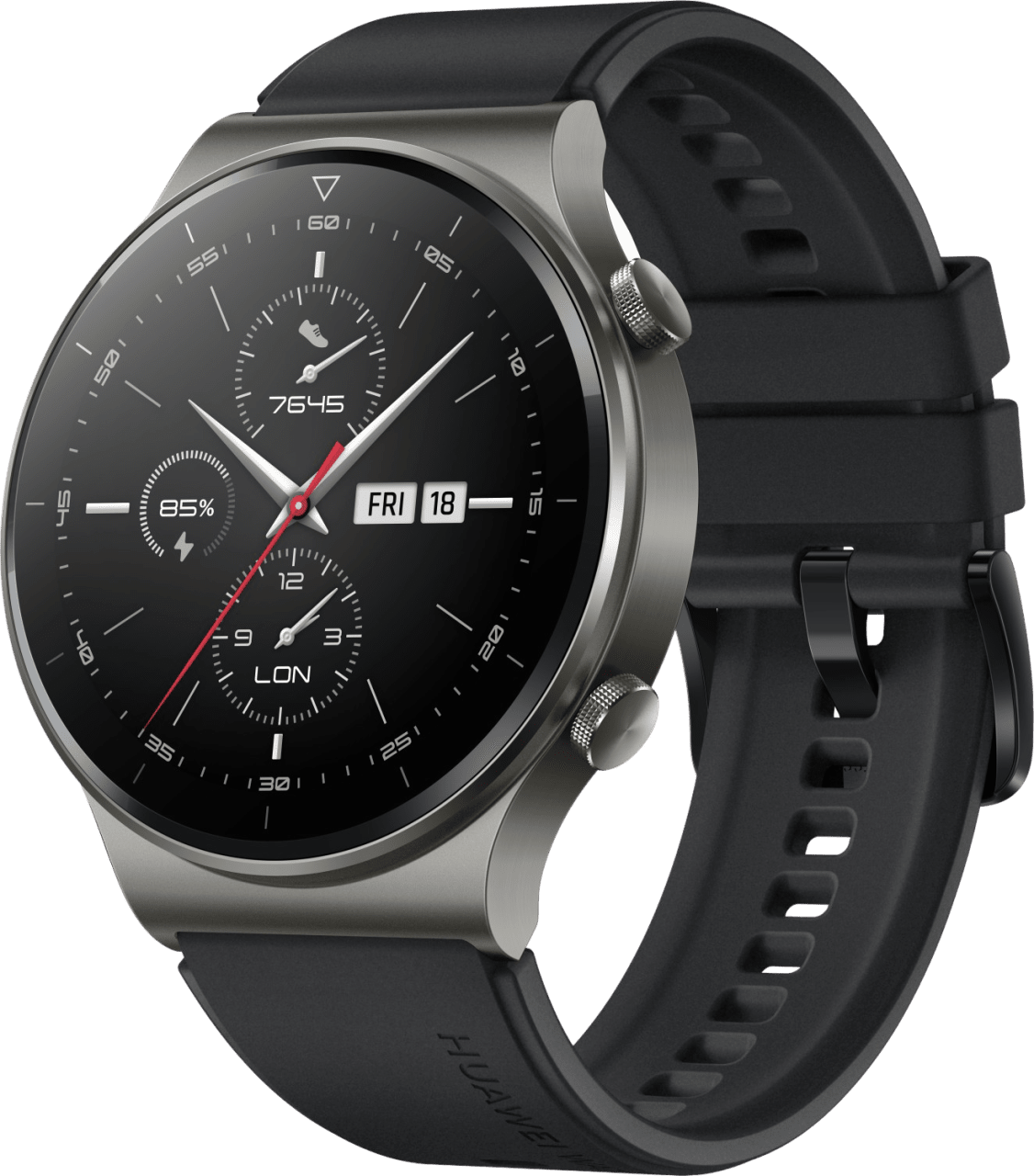 Black Huawei Watch GT2 Pro, 46mm Titanium case, Silicone / Leather band.1