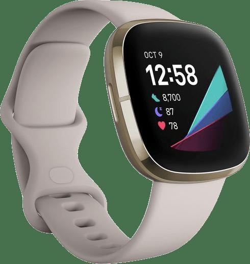 Lunar white & Soft gold Fitbit Sense Smartwatch.1