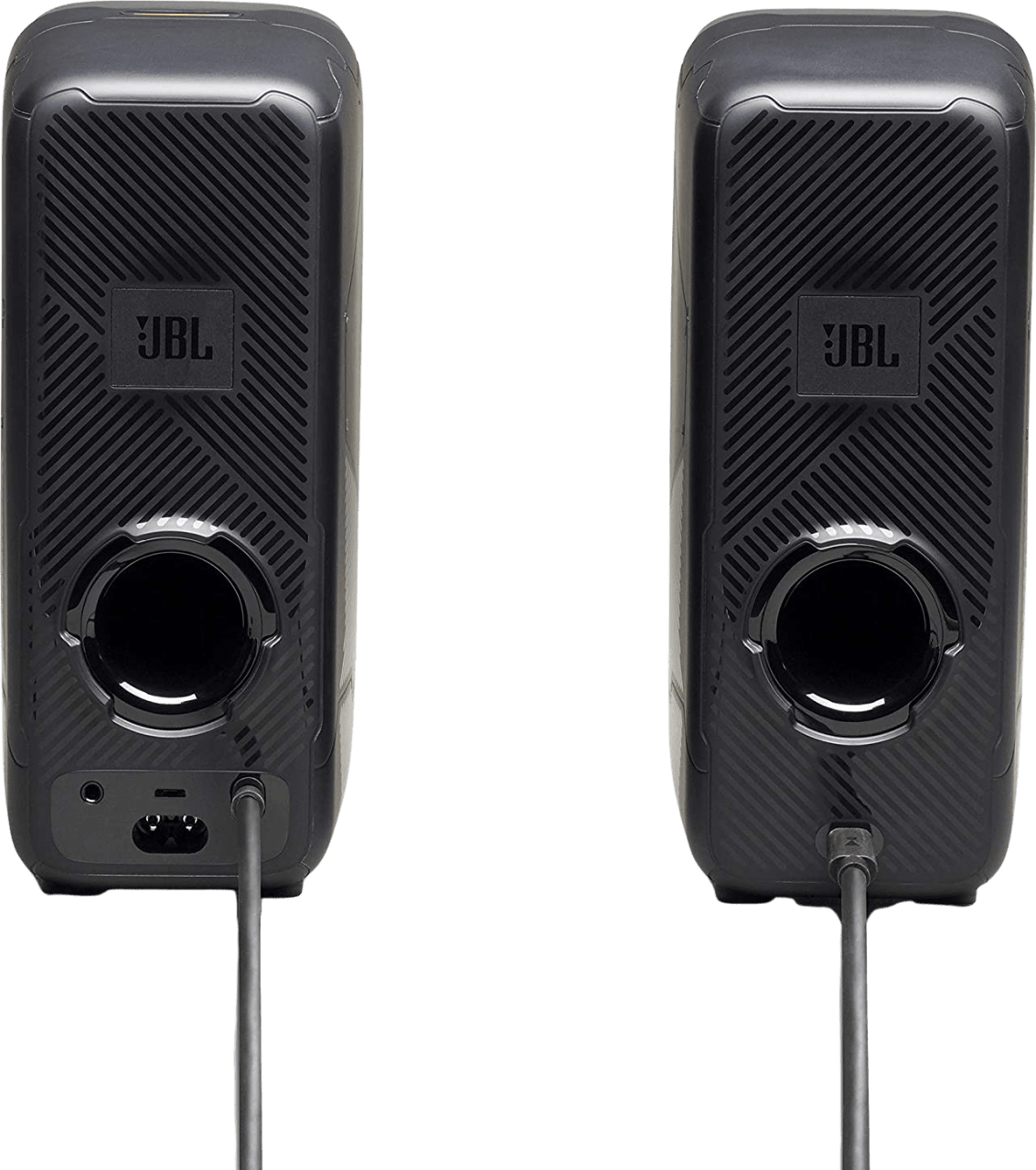 Black JBL Quantum Duo Gaming Speakers.4