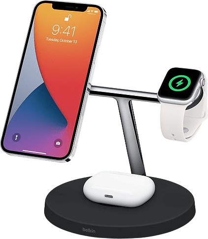 Black Belkin BOOST ↑ CHARGE PRO 3-in-1 Wireless Charger with MagSafe.2