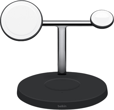 Black Belkin BOOST ↑ CHARGE PRO 3-in-1 Wireless Charger with MagSafe.4